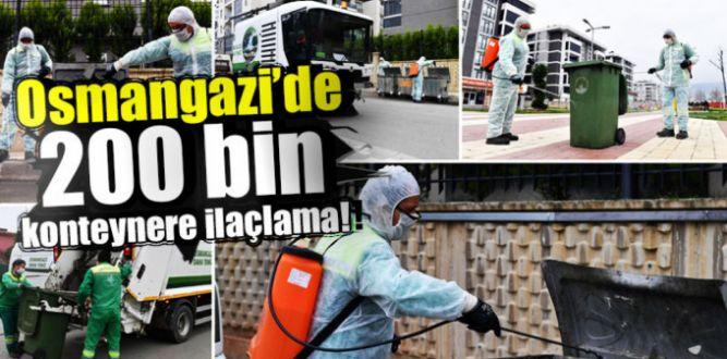 Osmangazi'de konteytenerlere ilaçlama